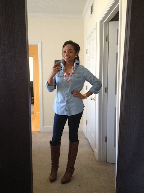 Good ol Chambray with leggings and boots