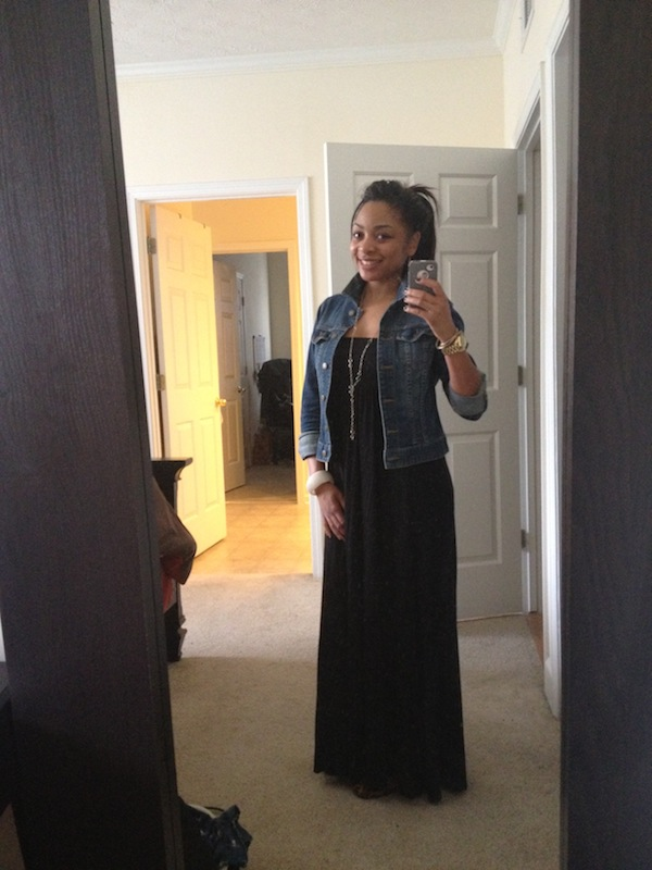 Maxi dress with a denim jacket and you can't see them but my leopard ballet flats