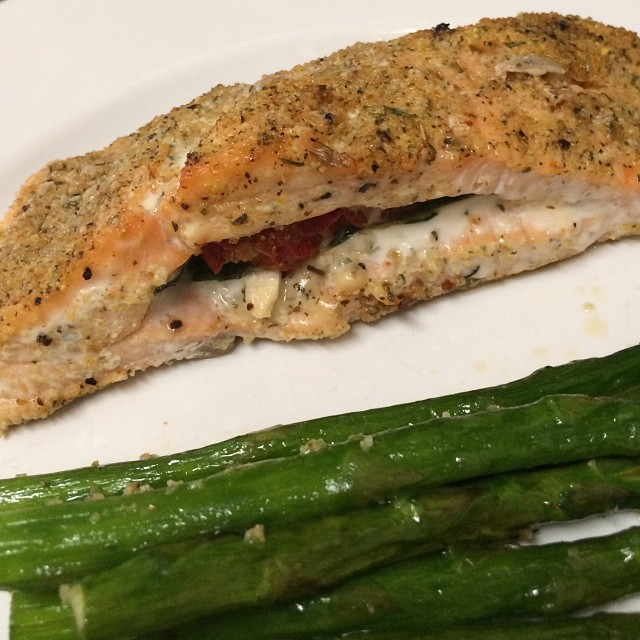Salmon stuffed with Basil, Feta and Sun-Dried Tomatoes